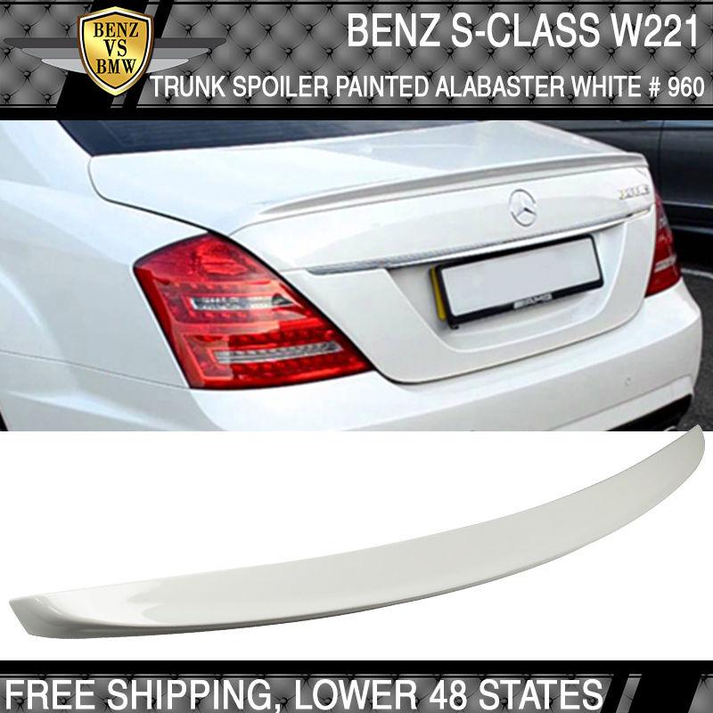 USパーツ 07-13ベンツSクラスW221リアトランクスポイラー塗装アラバスターホワイト#960 07-13 Benz S-Class W221 Rear Trunk Spoiler Painted Alabaster White # 960