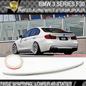USパーツ USAストック12-17 BMW 3シリーズF30トランク・スポイラー・ペイントアルパイン・ホワイトIII#300 USA Stock 12-17 BMW 3 Series F30 Trunk Spoiler Painted Alpine White III #300
