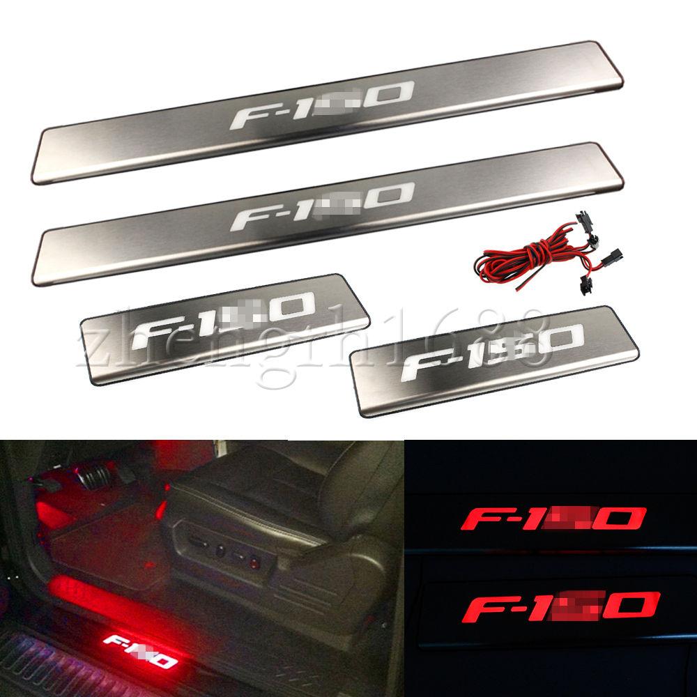 US ライトガード プロテクター LEDライト4ドアステンレススカーフプレートドアシルガード2009-2014フォードF-150 LED light 4 Door Stainless Scuff Plate Door Sill Guard For 2009-2014 Ford F-150