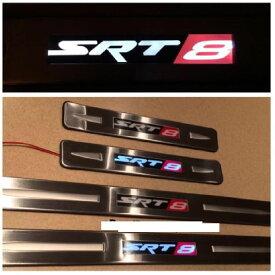 US ライトガード プロテクター クライスラーSRT8 200C 300のための300C 2006-2014 LED軽いドアの敷居擦り傷板のガード For Chrysler SRT8 200C 300 300C 2006-2014 LED Light Door Sill Scuff Plate Guard