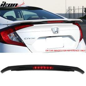 USスポイラー 16-17シビックX RS SIスタイルトランクスポイラー3RD LED#NH731Pクリスタルブラックパール 16-17 Civic X RS SI Style Trunk Spoiler 3RD LED #NH731P Crystal Black Pearl