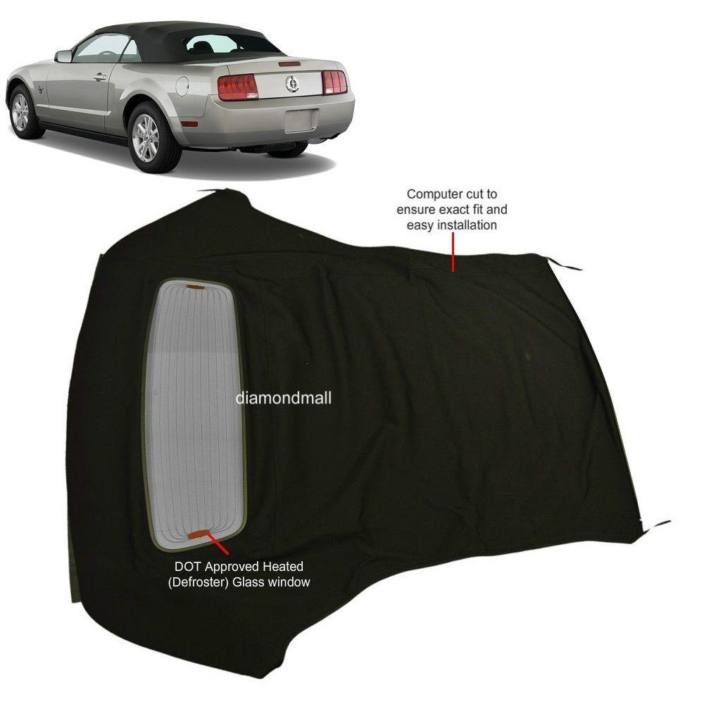 幌 フォードマスタング05-13コンバーチブルソフトトップ& デフロスタガラス窓黒帆布 Ford Mustang 05-13 Convertible Soft Top & Defroster glass window Black Sailcloth