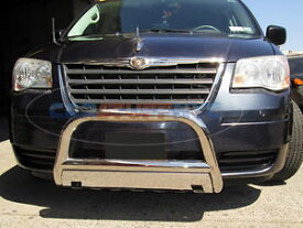 グリル 2008-2015ダッジグランドキャラバンステンレスブルバーフロントグリルガード/スキッドプレート 2008-2015 Dodge Grand Caravan Stainless Bull Bar Front Grille Guard w/Skid Plate