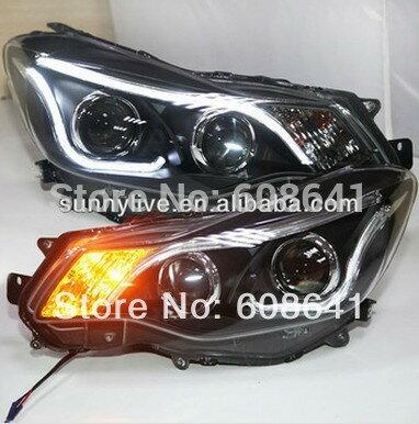 USヘッドライト[右ハンドル・日本仕様]用2012-2014年用スバルxv ledストリップヘッドライトバイキセノンプロジェク For 2012-2014 Year for Subaru XV LED Strip Head Light with Bi Xenon Projector Lens TLZ