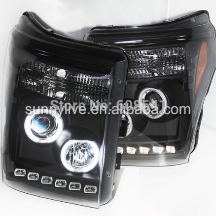 USヘッドライト[右ハンドル・日本仕様]2011年-2014 CCFLエンジェルアイフォードF250 F350 F450用ヘッ 2011-2014 CCFL Angel eyes headlight for ford F250 F350 F450 Super duty Raptor Black Housing