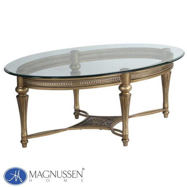 ローテーブル ガラス センターテーブル 丸テーブル 丸 楕円 大きい おしゃれ アンティーク アンティーク調 ゴールド 高級 アメリカン クラシック テイスト エレガント アウトレット ガラステーブル ガラス天板 オーバル 楕円形 丸型 リビング テーブル 37526 MAGNUSSEN