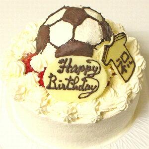 サッカーボールケーキ6号 送料込 フルーツケーキ いちごケーキ マンゴーケーキ 選択 誕生日 バースデー 生デコ サッカーボールの立体デコレーションケーキ