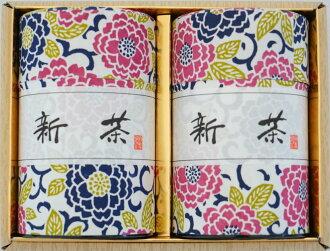 """江户友禅可以塞满的鲜茶,香味""""快乐新茶 ' 2 罐茶礼物"""