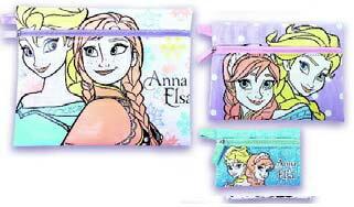旅行に最適です♪【メール便160円で全国へ】 3連ポーチ (フラットポーチ)★アナと雪の女王(アナ&エルサ)