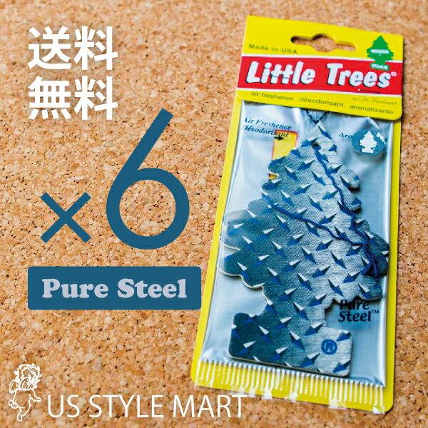 【ホールセール】【まとめ買い】【リトルツリー】【Little Tree】【6枚セット送料無料】ピュアスティール【Pure Steel】 【芳香剤 車】ピュアスチール