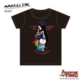 10/19 エントリーで2倍 アドベンチャータイム Tシャツ マーセリン(リンゴ)onフィン (ブラック)レディース(M) Adventure Time