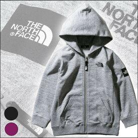 ノースフェイス キッズ パーカースクエアロゴフルジップ【100-150cm】North Face Square Logo Full Zip【速乾・長袖・無地・アウトドア・夏のキャンプ夜の防寒・アウター・ベビー・キッズ】
