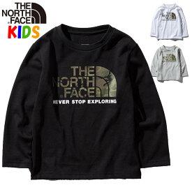 【7/10 ポイント最大還元】ノースフェイス キッズ カモロゴTシャツ【100-150cm】ロングスリーブ長袖 North Face Camo Logo Tee