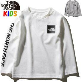 【7/10 ポイント最大還元】ノースフェイス キッズ 長袖スクエアロゴTシャツ【100-150cm】ロングスリーブ North Face Long Sleeve Square Logo Tee