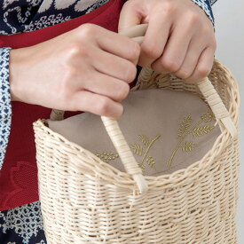 インナーバッグ バッグインバッグ ポーチ 二つ折り コットン 綿100% 刺繍 北欧 ナチュラル ベージュ ブラック キャメル