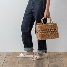 ウィッカーバスケット カゴバッグ かごバッグ 編みかご ウーブンバッグ 透かし模様 柳 スクエア 四角 ナチュラル ベージュ ブラウン (インナーバッグは別売りです)