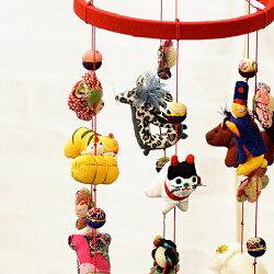 縮緬工芸品をもっと身近に。子供の成長を願う贈り物として。【京都のつるし飾りちりめん干支6本飾り】つるし雛,誕生日,雛祭り,子供の日,七五三,新春,お正月,お祝い,和雑貨,インテリア,プレゼント,ギフト