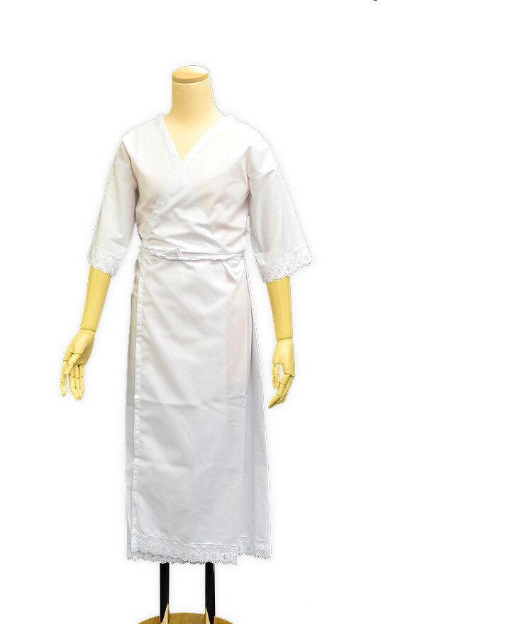 Sサイズ〜LLサイズまで豊富でお手頃!肌襦袢と裾除けが一体型のワンピースタイプ。【日本製 レース付きものランジェリー きものスリップ】白 肌着 下着 スカート 長襦袢 洗える 和装小物 着付け小物 着物 和装 浴衣 着付け 小物 ○
