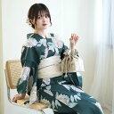 浴衣 セット レディース 浴衣 3点セット(浴衣/帯/下駄)日本製生地 国内染色 和歌山染工 青緑 紺碧 ブルーグリ…
