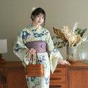 浴衣 セット レディース 浴衣 3点セット(浴衣/帯/下駄)綿麻 麻混 特選 先染めベージュ 朝顔 桜 さくら 水色  青 ブルー …