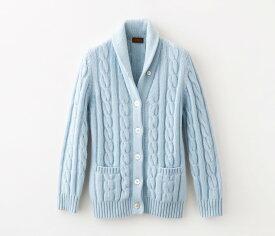 【UTO レディース 最高級カシミア カシミヤ100% 日本製】ケーブル編み ショールカラー カーディガン カラー20色