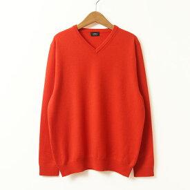 【UTO メンズ アウトレット 50%OFF】浅Vネック セーター オレンジレッド M サイズ 最高級 カシミア カシミア 100% 日本製