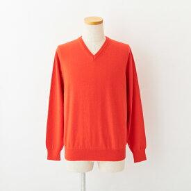 【UTO メンズ アウトレット30%OFF】Vネック セーター オレンジレッド S/M サイズ 廃盤色 最高級 カシミア カシミア 100% メンズ 日本製