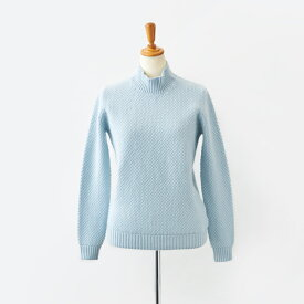 【UTO レディース アウトレット 40%OFF】最高級 カシミヤ カシミア 100% 日本製 鹿の子編み ハイネック セーター ベビーブルー M サイズ