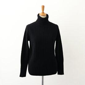 【UTO レディース 即納品】ワイドリブ タートルネックセーター ブラック M サイズ 最高級 カシミヤ カシミア 100% 日本製