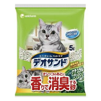 除臭气味猫砂尤妮 Deo 砂小便后砂猫窝天然绿色香味 5l 博