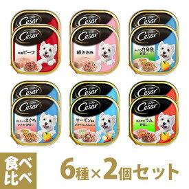 シーザー Cesar トレイ 食べ比べセット 6種×2個 ■ ドッグフード ウェットフード 総合栄養食 全犬種 オールステージ マースジャパン