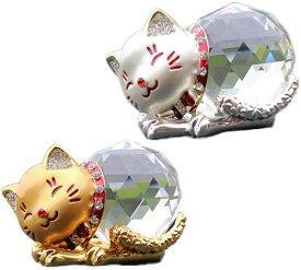 【即納・全国送料無料】 クリスタル 猫 置物 風水金運グッズ ゴールド シルバー 2匹セット