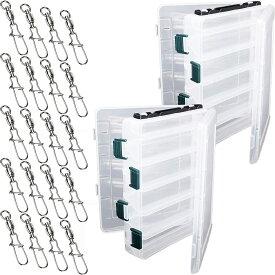 【即納・全国送料無料】タックルボックス スイベル スナップ フィッシングボックス 釣り道具 釣り用品 セット (M2個+スイベル20個)