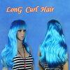 作为假发长天蓝色二比特的彩色的长头发女装女人假头发假扮古装戏化装派对