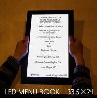 光るメニューブック。33.5×24センチ。