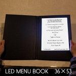 光るメニューブック。36×53センチ。