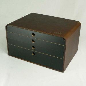YK09-118 A4 FILE CASE 5段 茶色・黒色