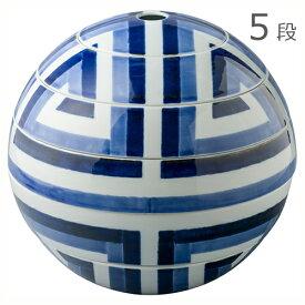 有田焼 李荘窯 珠型五段重 縞モザイク