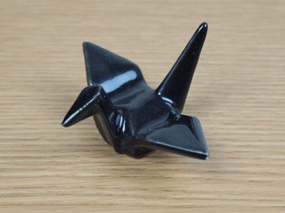 【和食器】折り鶴箸置・ブラック【箸置き】【置き物】【上品なツル】【カラーバリエーション】【小物】【陶器】