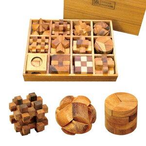 ウッドパズルセット 【天然 木製 パズル 知恵の輪 脳トレ 立体パズル】【送料無料】