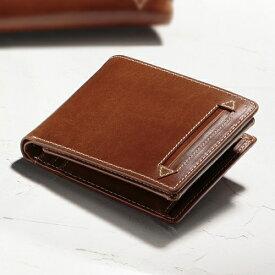 アニリンワックスレザー二つ折り財布 【牛革 本革 メンズ ウォレット】