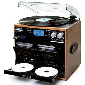 ダブルCDカセット・マルチレコードプレーヤー - ダビング パソコン不要 スピーカー 内蔵 スピーカー内蔵セット レコード プレーヤー レコードプレイヤー カセット カセットテープ デジタル化 CD SD USB マルチプレイヤー デジタル録音 録音 ラジオ B-600