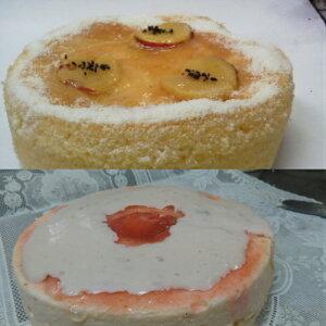 半生赤いレアーチーズケーキと蒸し芋チーズケーキのセット