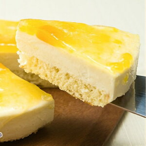 [マンゴ レアー チーズケーキ]マンゴーソースをトッピングしました。「しっとりした美味しさ」を実現。チーズケーキとマンゴーの味を楽しんでください。サッパリあっさりと食べやす