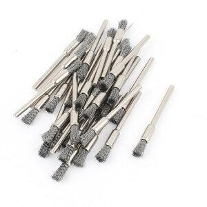 uxcell ワイヤーブラシ ペン型ワイヤーブラシ エンド型 軸付きブラシ 研磨用具 30個セット グレー