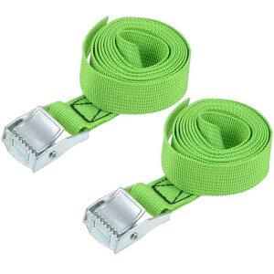 uxcell ラッシングストラップ 荷物固定ロープ 荷締めベルト 荷締バンド 落下防止 貨物輸送 カーゴタイ ダウンストラップ 551Lbs 1.5m長さ グリーン 2個入り