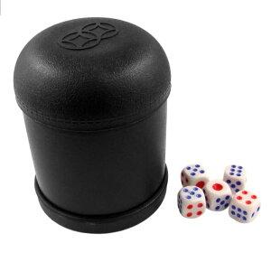 uxcell ダイスカップ シルバーカップ 5ポーカーダイスセット 5個入り サイコロ w バー KTV ブラック プラスチック シェーカー カップ