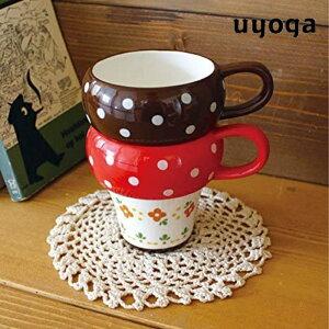 【DECOLE/デコレ】PIECZARKA きのこスタックマグ / マグカップ コップ 陶器 レッド ブラウン ギフト 食器 生活雑貨 コーヒー 【きのこ雑貨】【キッチン雑貨】