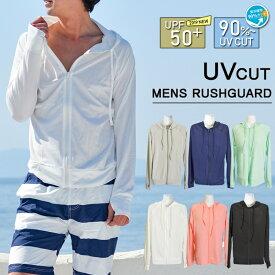 ラッシュガード メンズ 長袖 ジップアップ 大きいサイズ おしゃれ 無地 水着 パーカー ジム 水泳 サーフィン UVカット 夏 フェス 指穴