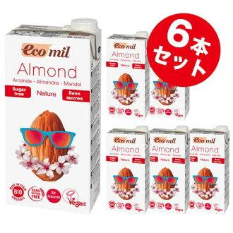 EcoMil 에코 밀 유기농 아몬드 밀크 스트레이트 (무 설탕) 1000ml× 6 개의 유기농 설탕 사용 무 첨가 아몬드 밀크
